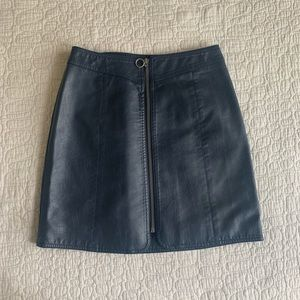 Faux leather navy skirt